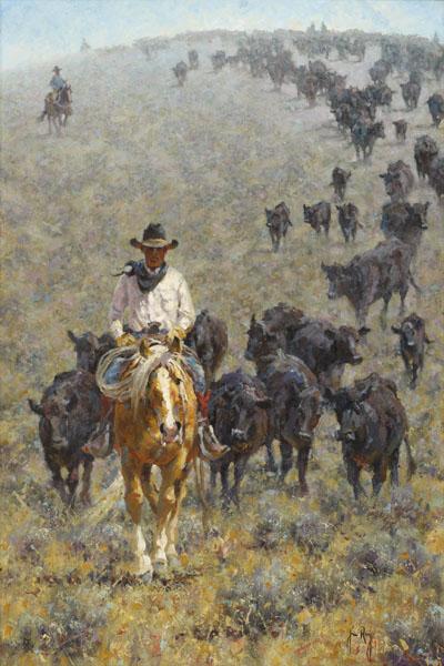 Between Mountain Showers By Jim Rey Cowboy Print